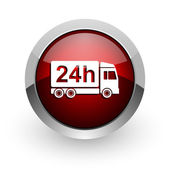 Delivery 24h red circle web glossy icon — Stock Photo