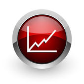 Chart red circle web glossy icon — Stock Photo