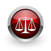 Justice red circle web glossy icon — Stock Photo