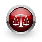 Justiça círculo vermelho web lustrosa ícone — Foto Stock