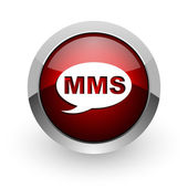 Icône de papier glacé web mms de cercle rouge — Photo