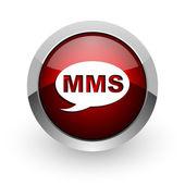 Lesklý ikona webové mms červený kruh — Stock fotografie