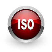 Iso rode cirkel web glanzende pictogram — Stockfoto