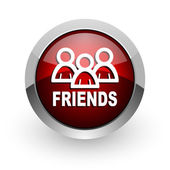 Friends red circle web glossy icon — Stock Photo