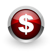 Us dollar red circle web glossy icon — Stock Photo