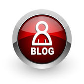 Blog red circle web glossy icon — Stock Photo