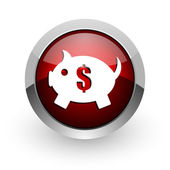 Piggy bank red circle web glossy icon — Stock Photo