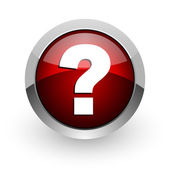 Question mark red circle web glossy icon — Stock Photo