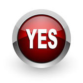 Yes red circle web glossy icon — Stock Photo