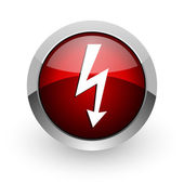 Lightning red circle web glossy icon — Stock Photo