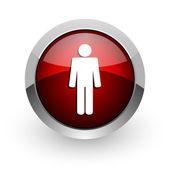 Lesklý ikona webové muž červený kruh — Stock fotografie