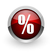 Percentage rode cirkel web glanzende pictogram — Stockfoto