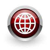 Earth red circle web glossy icon — 图库照片