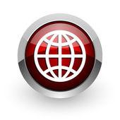 地球的红色圆圈 web 光泽图标 — 图库照片
