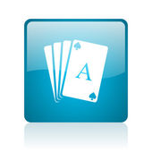 Speelkaarten blauwe vierkante web glanzende pictogram — Stockfoto