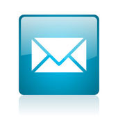 Mail blue square web glossy icon — Stock Photo