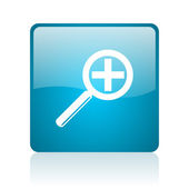 Magnification blue square web glossy icon — Stock Photo