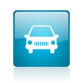 иконка синий квадратных веб глянцевой — Стоковое фото