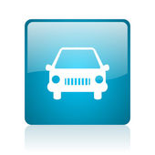 Auto blauwe vierkante web glanzende pictogram — Stockfoto