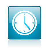 Clock blue square web glossy icon — Stock Photo