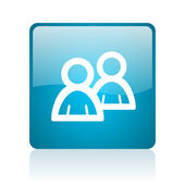 Forum blue square web glossy icon — Stock Photo
