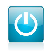 Power blue square web glossy icon — Stock Photo