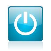 ícone do poder web quadrado azul brilhante — Foto Stock