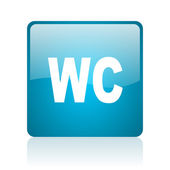 Wc blue square web glossy icon — Stock Photo