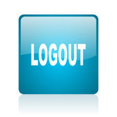 Logout blue square web glossy icon — Stock Photo