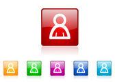 Account square web glossy icon colorful set — Stock Photo