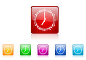 Clock square web glossy icon colorful set — Stock Photo