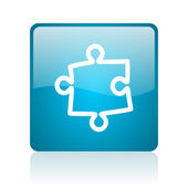 Puzzle blue square web glossy icon — Stock Photo