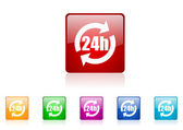 24h square web glossy icon colorful set — Stock Photo