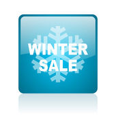 Winter sale blue square web glossy icon — Stock Photo