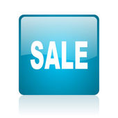 Sale blue square web glossy icon — Stock Photo