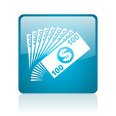 Money blue square web glossy icon — Stock Photo