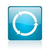 Refresh blue square web glossy icon — Stock Photo