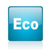 Eco blue square web glossy icon — Stock Photo