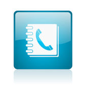 Phonebook blue square web glossy icon — Stock Photo