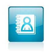 Adres defteri mavi kare web parlak simgesi — Stok fotoğraf