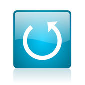 Rotate blue square web glossy icon — Stock Photo