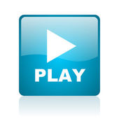 Play blue square web glossy icon — Stock Photo