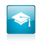 卒業青い正方形ウェブ光沢のあるアイコン — ストック写真