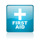 First aid blue square web glossy icon — Stock Photo