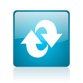 Rotate blue square web glossy icon — Stock Photo