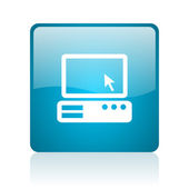 Pc blue square web glossy icon — Stock Photo