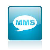Icône brillant de mms web carré bleu — Photo