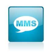 Mms blue square web glossy icon — Stock Photo