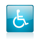 Accessibility blue square web glossy icon — Stock Photo
