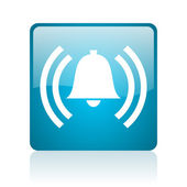 Alarm blue square web glossy icon — Stock Photo